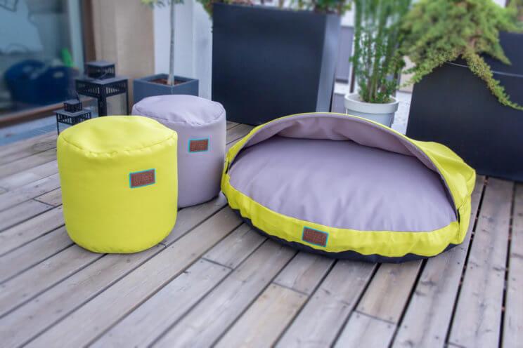 snuggle-dreamer-outdoor-hundehoehle_kokolores-lime-grey-hocker-siton-grey-lime